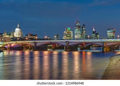 St Pauls cathedral, Blackfriars Bridge and the City of London at night