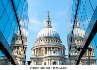 St. Paul's Cathedral church ireflected in glass walls of One New Change in London, United Kingdom.