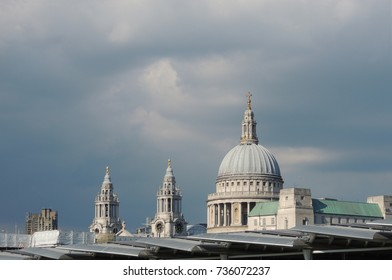 St Paul's Cathedral - the dome and towers, under a cloudy grey London sky