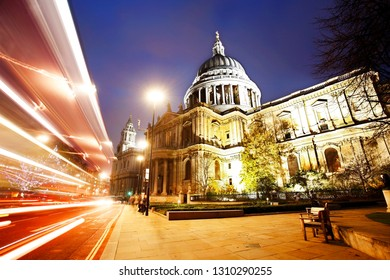 St Paul's Cathedral at dusk, bus lights trail present. The Cathedral locates at the top of Ludgate Hill in the City of London.