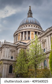 St Paul's Cathedral in London, against a cloudy sky. By the architect Sir Christopher Wren.