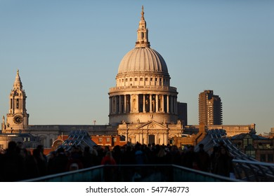 St. Paul's Cathedral in London. Close-up sunset view.