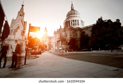 St Paul's Cathedral in London long exposure at dusk with sun flare