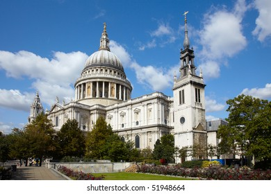 St Paul's cathedral in London and sky with clouds