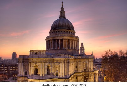 St Paul's Cathedral, London, UK, taken at dusk, from a level perspective