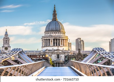 St. Paul's Cathedral and Millenium Bridge in London