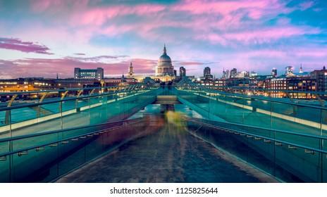 St Pauls Cathedral and Millennium bridge at dusk, UK.