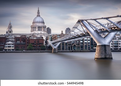 St Paul's Cathedral and the millennium bridge, London