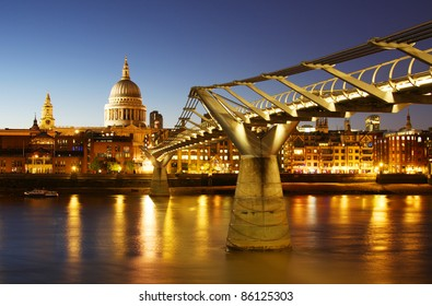 St. Paul's Cathedral and the Millennium Bridge in London