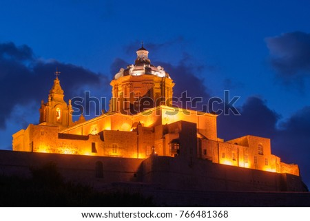 St. Paul's Cathedral at the night. Mdina, Malta