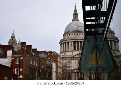 St Pauls Cathedral. North side from Millenium Bridge. London, United Kingdom.