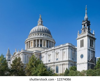 St Paul's Cathedral on a magnificent clear summer day in London.