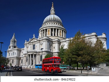 St. Paul's Cathedral and red bus in London