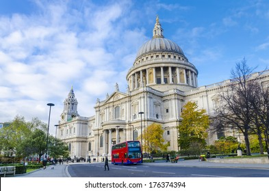 St. pauls cathedral with red double decker bus in London, United Kingdom