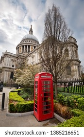 St Pauls Cathedral and a red telephone box, London England