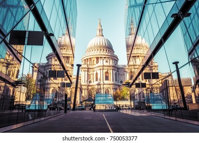 St Pauls Cathedral and reflections in day in London.