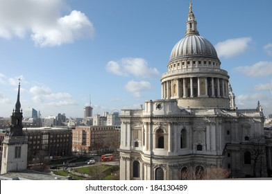 St Pauls Cathedral from rooftop viewing platform of One New Change in London