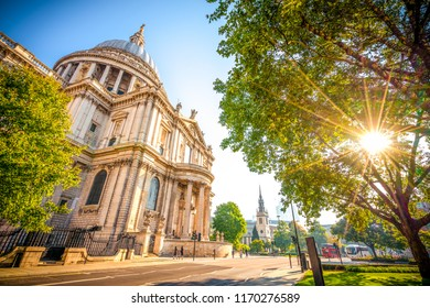 St Pauls Cathedral with sun flare in London