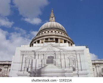 St Pauls cathedral, under repair.