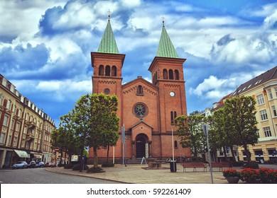 St. Paul's Church, Aarhus or Sankt Pauls Kirke, Denmark in summer day