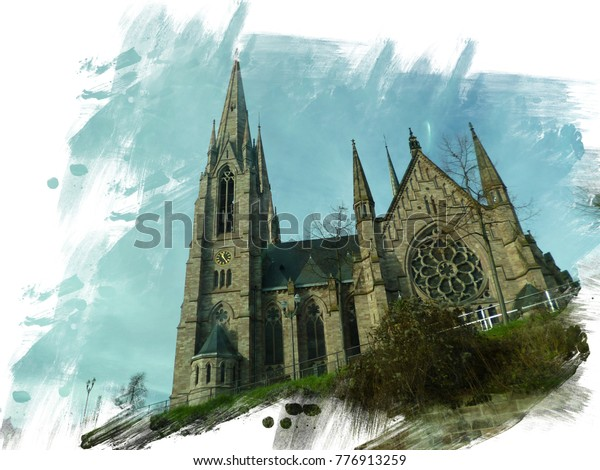 St. Paul's Church. Is a major Gothic Revival architecture building and one of the landmarks of the city of Strasbourg, in Alsace, France. Painted canvas effect.