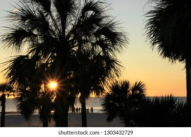 St Pete Beach, FL - January 21, 2019: A starburst setting sun is seen shining through some palm trees, with pastel blue and orange skies, the Gulf waters and people on the beach in the background.