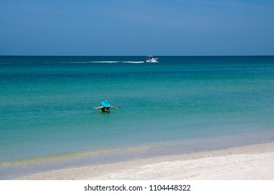 St. Pete Beach, Florida, April 2018: A woman enjoys wading into the warm water of the Gulf of Mexico at St. Pete Beach, Florida on a warm April day.