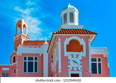 St. Pete Beach, Florida. January 25, 2019. Top view of The Don Cesar Hotel on lightblue cloudy sky background The Legendary Pink Palace of St. Pete Beach. (2)