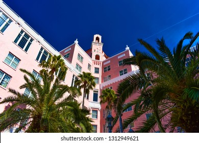 St. Pete Beach, Florida. January 25, 2019. Top view of The Don Cesar Hotel and palms trees. The Legendary Pink Palace of St. Pete Beach (5)