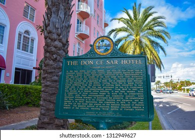 St. Pete Beach, Florida. January 25, 2019. The Don Cesar Hotel historic sign. The Legendary Pink Palace of St. Pete Beach.