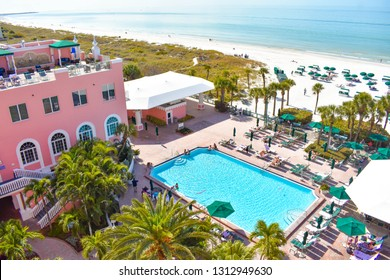 St. Pete Beach, Florida. January 25, 2019. Pool area view of The Don Cesar Hotel and St. Pete Beach .The Legendary Pink Palace of St. Pete Beach (3)