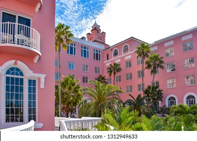St. Pete Beach, Florida. January 25, 2019.  Top view of The Don Cesar Hotel and palm trees . The Legendary Pink Palace of St. Pete Beach  of St. Pete Beach at Gulf Coast Beaches .