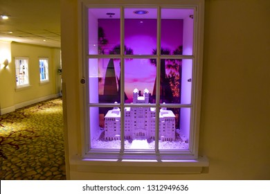 St. Pete Beach, Florida. January 25, 2019. The Hotel Don Cesar in miniature,  behind the window. The Legendary Pink Palace of St. Pete Beach.