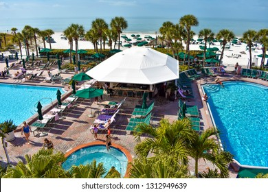 St. Pete Beach, Florida. January 25, 2019. Pool area view of The Don Cesar Hotel and St. Pete Beach .The Legendary Pink Palace of St. Pete Beach (2)
