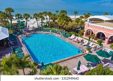St. Pete Beach, Florida. January 25, 2019. Pool area view of The Don Cesar Hotel and St. Pete Beach .The Legendary Pink Palace of St. Pete Beach (1)