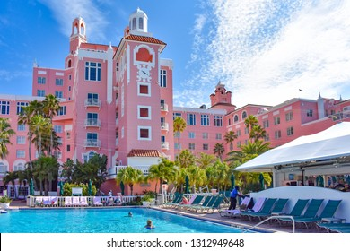 St. Pete Beach, Florida. January 25, 2019.  Historic pictures on inside wall in The Don Cesar Hotel. The Legendary Pink Palace of St. Pete Beach  of St. Pete Beach at Gulf Coast Beaches  (2)