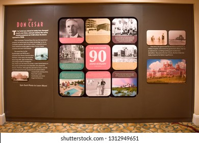 St. Pete Beach, Florida. January 25, 2019.  Historic pictures on inside wall in The Don Cesar Hotel. The Legendary Pink Palace of St. Pete Beach  of St. Pete Beach at Gulf Coast Beaches  (1)