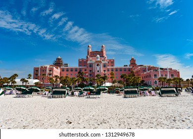 St. Pete Beach, Florida. January 25, 2019.  Panoramic view from the beach of The Don Cesar Hotel. The Legendary Pink Palace of St. Pete Beach (1)