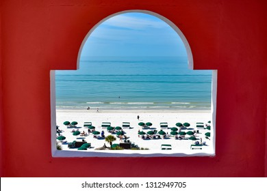 St. Pete Beach, Florida. January 25, 2019.  Beautiful view of St. Pete Beach from window in tower of The Don Cesar Hotel .The Legendary Pink Palace of St. Pete Beach (21)