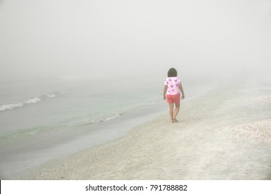 St. Pete Beach, Florida January 11, 2018: A senior woman walks into the fog on St. Pete Beach, Florida while looking for shells after a storm on the Gulf of Mexico.