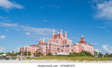 St. Pete beach, Florida October 22 2020 - The Don Cesar Hotel along the gulf coast of Florida during renovations in the fall.
