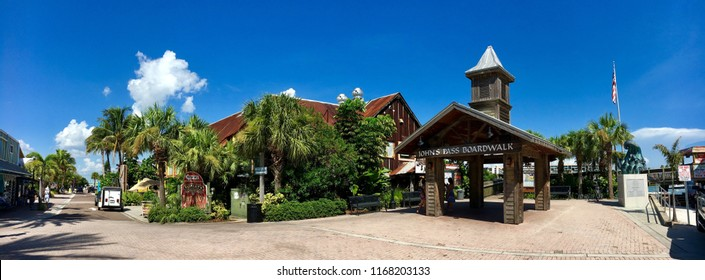 St Pete Beach, Florida, USA - July 26, 2016: John's Pass Boardwalk in St Pete Beach in Florida