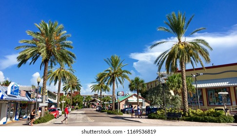 St Pete Beach, Florida, USA - July 26, 2016: Shops and palms in St Pete Beach in Florida