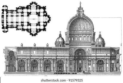 St. Peter Basilica - Rome (Italy) - Vintage illustration from Meyers Konversations-Lexikon 1897