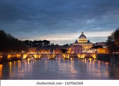 St Peter Basilica at sunset