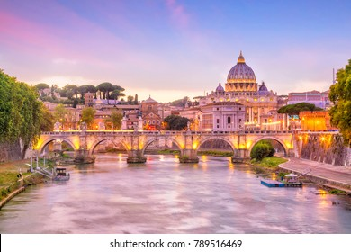St Peter Cathedral in Rome, Italy at sunset