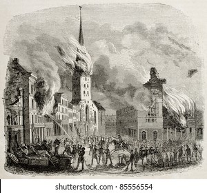 St Peter church fire in 1842, Hamburg. By unidentified author, published on Magasin Pittoresque, Paris, 1842
