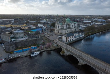 St. Peter and Paul Church and Shannon bridge aerial view. Athlone, Ireland. February 2019
