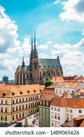 St. Peter and Paul's Cathedral and cityscape from Old Town Hall tower in Brno, Czech Republic