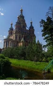 St. Peter and Paul's orthodox church in the Russian city of Peterhof near Saint Petersburg